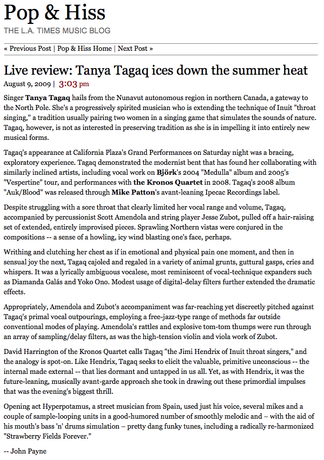 090809 Tanya Tagaq, Los Angeles Times 2