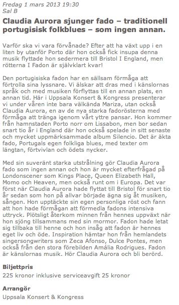 130107 Claudia Aurora at Uppsala, Sweden