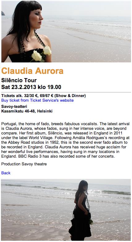 130117 Claudia Aurora at Savoy Teatteri, Helsinki
