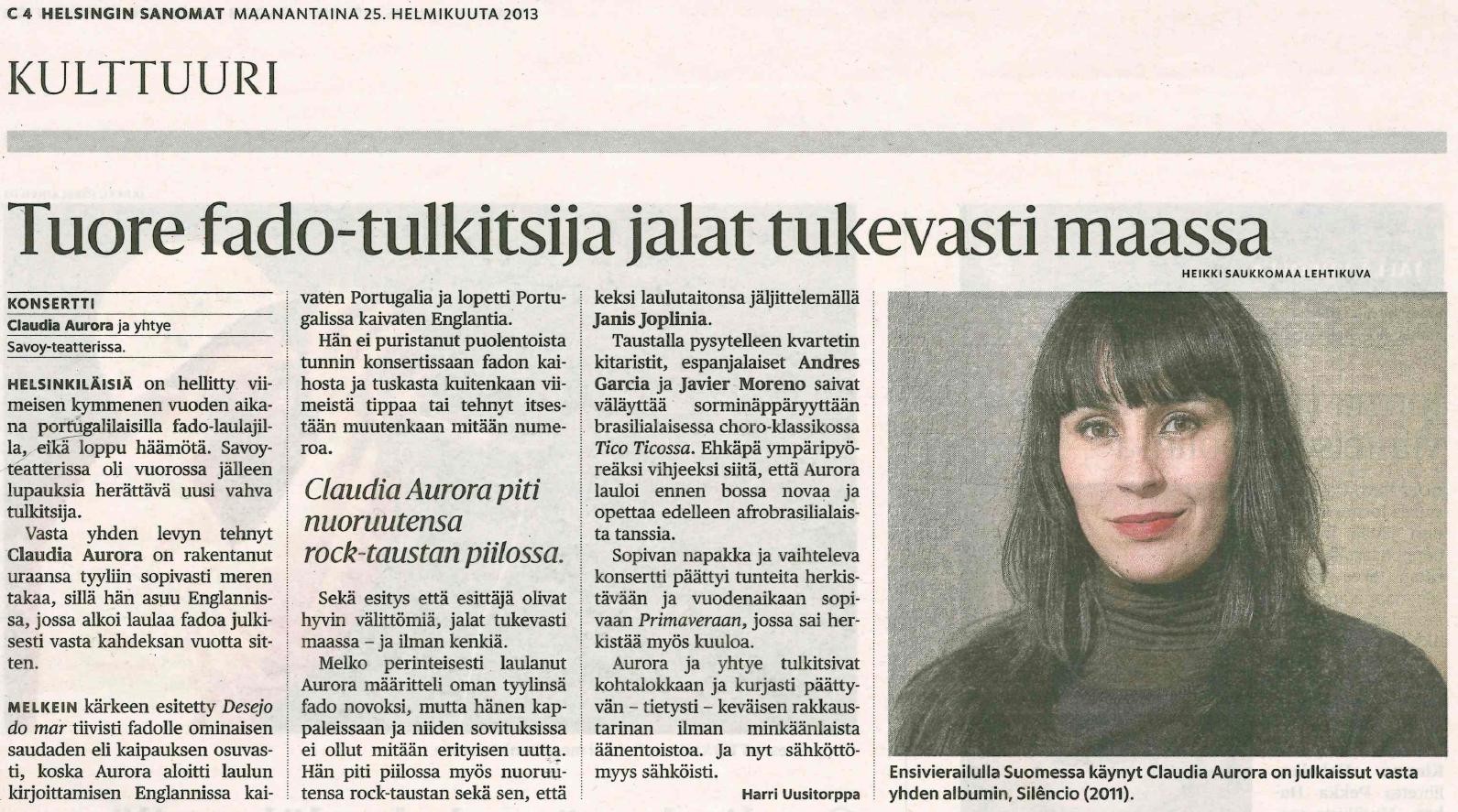 130225 Helsingin Sanomat (biggest newspaper in Finland)